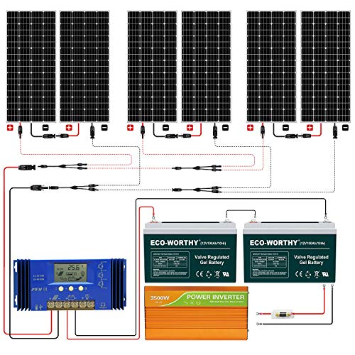 ECO-WORTHY 1KW Complete Solar Panel System Kit with Battery and Inverter for Homes House Shed Farm