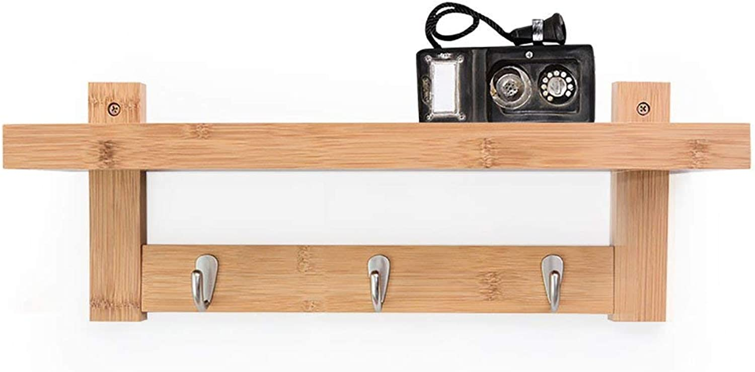 Shiyanghang Nordic Bedroom Wall Hook Creative Solid Wood Wall-Mounted Coat Rack Hanger Wall-Mounted Clothes Hooks Living Room Shelves (color   Natural color, Size   A)