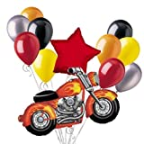 Snarly Motorcycle Balloon Bouquet Set with Red Star 12pc