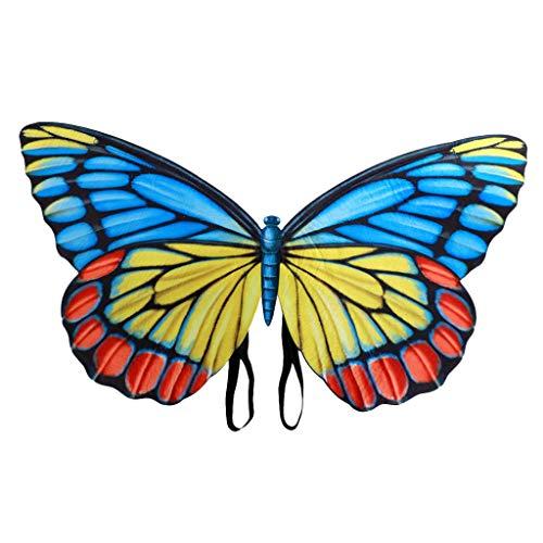 Andouy Frauen Schmetterlingsflügel Schals Flügel Tuch Umhang Damen Nymphe Pixie Poncho Kostümzubehör(79X44CM.Mehrfarbig)