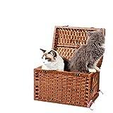 V.JUST Pet Carrier Woven Basket Mimbre Cat Litter Pet Jaula Puppy Cat out Bag Pet, Grande, 42X30x30cm,A