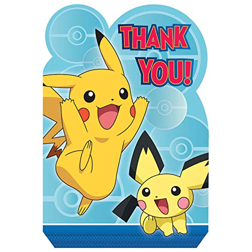 amscan Pokemon Birthday Party Supplies 16 Pack Thank You Notes