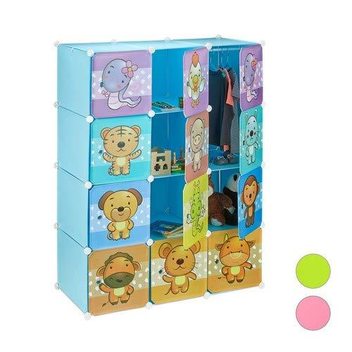 Relaxdays, blau Steckregal Kinderzimmer, Tiermotive, Jungen, Türen, Kleiderstangen, Kunststoff Kleiderschrank, 145x110cm, Standard