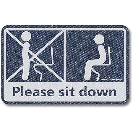 メイヴルアットホーム 座りション トイレステッカー 立ちション禁止 座って 座る マナー シール(デニム調)