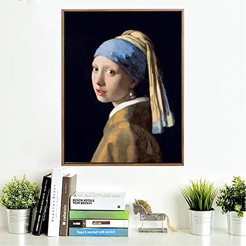 TBWPTS Canvas Schilderij Met een parel oorbel olieverfschilderij poster kunst aan de muur canvas foto woonkamer home decor