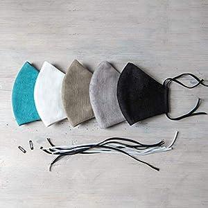 5 Maske Mundschutz Leinen 3 Schichten Waschbare- 8 klassische Farben Auch für einen klassischen Anzug geeignet…