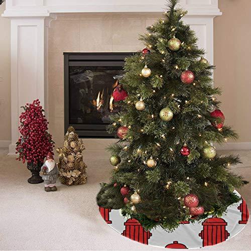 Falda de árbol de navidad Extintor de dibujos animados creativo lindo Imprimir Neutral Falda de árbol de navidad Falda de árbol artificial de poliéster Alfombra para fiesta Decoraciones navideñas Ado