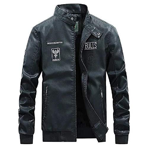 YEE Chaqueta de protección Moto de la Motocicleta, Retro de la Motocicleta Negro Apenada Chaqueta de Cuero