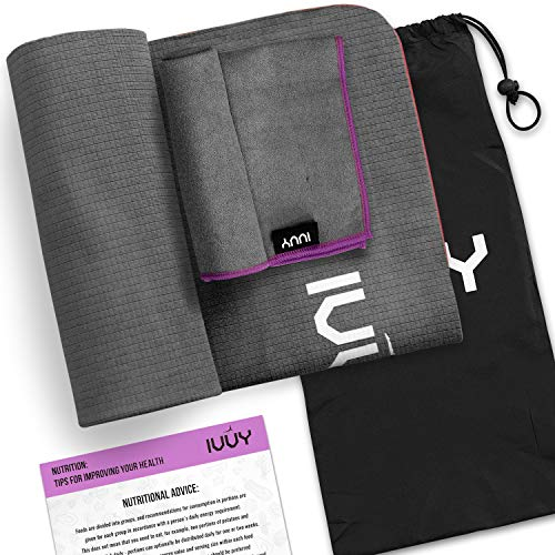 IVVY Yoga Towel Non Slip, 100% Microfiber, Yoga Towel – Mat, 4 in 1 Set - Includes Hand Towel Carry Bag Nutritional Wall Poster Extra Thick Super Absorbent for Hot Yoga, Bikram, Pilates, ECO-Friendly