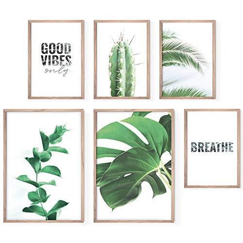 Bold Design Poster Set Palms & Trees - 4 x DIN A4 & 2 x DIN A3 - Harmonierende Bilder mit Palmenblättern, Monstera & Kaktus für Wohnzimmer & Schlafzimmer - 6 Wandposter ohne Rahmen (grün/weiß)