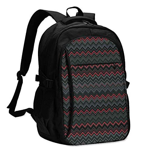 Mochila de viaje para portátil con puerto de carga USB, color rojo y negro horizontal zigzag Chevron W Wave Design Business College bolsa de ordenador regalos para hombres y mujeres