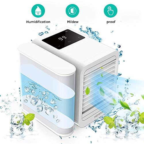 Arnagar Portable Air Conditioner Fan, Personal Air Cooler, Mini Space Evaporative Cooler with Digital Display and Push Button Design, Quiet Air Humidifier Misting Fan, Small Desk Cooling Fan(White)