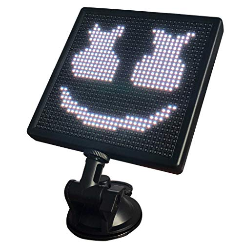 12V Animation Car LED Display Screen,Controlled Emoji Car LED Display Screen Adjustable Support Bluetooth App for iOS Android