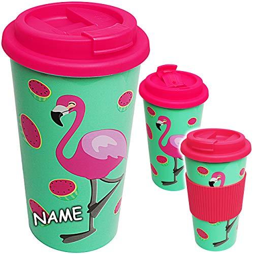 alles-meine.de GmbH Coffee to Go Becher -  Flamingo - Vögel  - inkl. Name - BPA frei - 500 ml - auslaufsicher - Schraubdeckel - Mehrweg Kaffeebecher - Kaffee Unterwegs - Trinkb..
