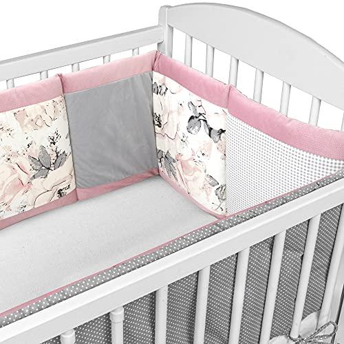 Bettumrandung Nestchen Babybett 420 x 30 cm - mit Velvet - Patchwork Babybettumrandung Bettnestchen für Beistellbett Gitterbett umrandung Rosa