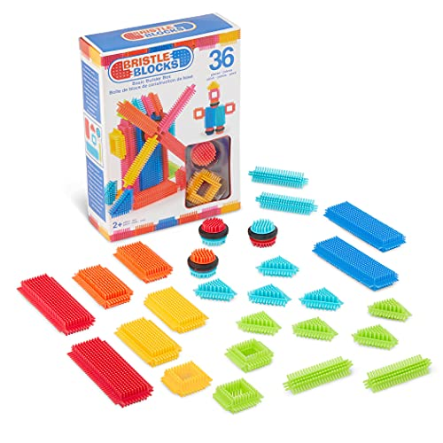Bristle Blocks by Battat - STEM Building Blocks for Kids - Soft Developmental Toys - 36pc Playset – Basic Builder Box – for Toddlers and Children Aged 2 Years +, Multicolor, 3099Z