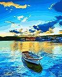 Toudorp Pintura al óleo de Bricolaje por números Paisaje, Lienzo Pintura al óleo Lakeside Village Barco Pintura por números con Pinceles sin Marco 16 x 20 Pulgadas