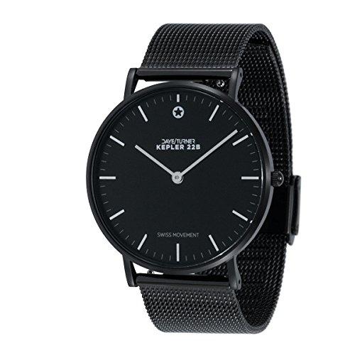 DAYE/TURNER Unisex Armbanduhr KEPLER 22B Damen Herren Uhr Schweizer Uhrwerk Ronda Zifferblatt schwarz Mesh-Armband schwarz