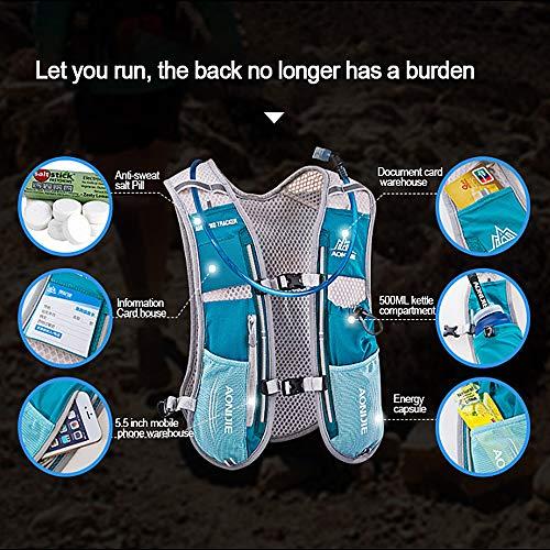 AONIJIE Hydration Pack Rucksack Marathoner, Laufen, Rennen, Trinkrucksack mit Trinkrucksack, blau, no Bladder - 5