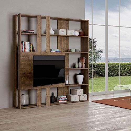 Itamoby, Bibliothèque et meuble TV mural en bois Kato M avec 6 étagères 5 compartiments Noyer Meubles Moderne Bureau Salon Cuisine L.178 P. 34cm. H 204 cm. Fabriqué en Italie.