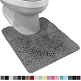 Gorilla Grip Original Shaggy Chenille Oval U-Shape Contoured Mat for Base of Toilet, 22.5x19.5 Size, Machine Wash and Dry, Soft Plush Absorbent Contour Carpet Mats for Bathroom Toilets, Gray
