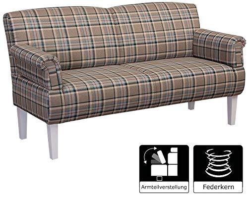 Cavadore Sitzbank Pasle / Polsterbank für Küche, Esszimmer oder Wohnküche / Bank passend zum 3-Sitzer Pasle / 153 x 52 x 53 / Flachgewebe: Hellgrau