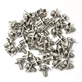 PZRT 40pcs M5x10 Terminal Block Screws with 12x12mm Square Washers, Nickel Plated Carbon Steel, Silver