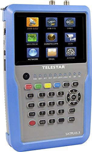 "Telestar 5401253 \""SATPLUS 3\"" Messgerät (DVB-S/-S2/-C/-C HD/-T/-T2/H.265/HEVC/SAT-IP, 12,7cm (5 Zoll) LCD-Farbdisplay inkl. Live Bild, 14 Sprachen) silber-blau"