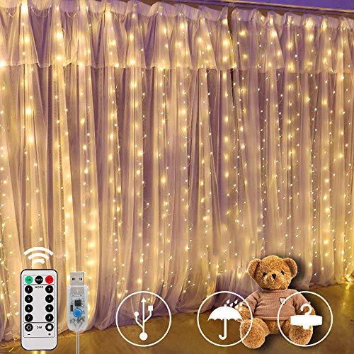Cortina de Luces,SUNNOW 300 LED 3M * 3M 8 modos Cadena de luz blanca cálida resistente al agua, IP65, adecuada para cortinas, aleros, fiestas, jardín, árboles, Navidad, bodas, barra de cortina
