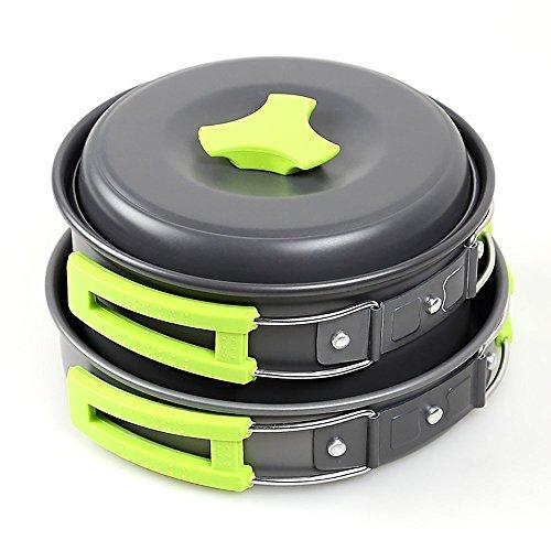 Camping Kochgeschirr Set, Viitop.eu Campinggeschirr Trekking-Geschirrset Kochset Topf- und Pfannenset mit Deckel Aluminium eloxiert im Nylontasche, FDA-zertifizierten