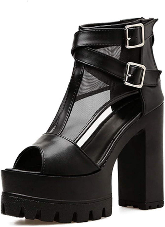 JQfashion Cover Heels Platform Women Sandals High Heels Women shoes Zipper Black Peep Toe Summer Party shoes Female Mesh