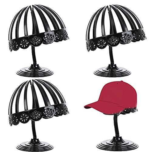 Halter Perückenhalter Schwarz Kunststoff Perückenständer Plastik Ständer Beweglicher Perückenhalter Hüte Display Ständer Plastik Hutständer Für Mützen Perücke, Zuhause Aufbewahrung Rack(3 Stück)