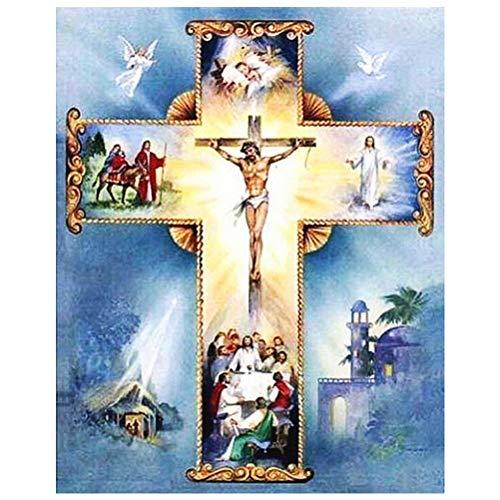 Siming - Quadro con diamanti di Jesus Cristo, motivo: Cristo sulla croce, 30 x 40 cm