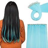 20'(50 cm) Extensoines de Colores de Cabello Clip Pelo Sintético Se Ve Natural 10 PCS Mechas Fantasía para Niñas Muñecas Lisos Postizos de pelo #Azul (50cm,80g)