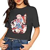 DoohcwBDJ Mirai Nikki Future Diary Women's Summer Crop Top Stylish Short Sleeve Shirt Navel T-Shirt Black XL
