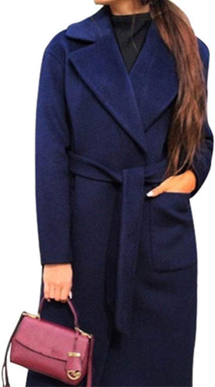 Stylish Long Women's Coat TurnDown Collar Lining Jackets 2 Pockets Waist Belted Coats