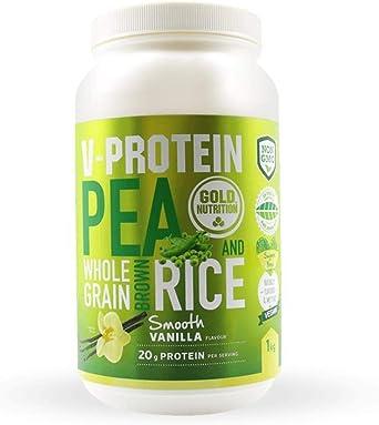 Goldnutrition V-Protein 1kg, Vainilla Suave, Proteína Vegetal