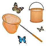 Yisscen Redes de Mariposa Telescópicas Red de Pesca Ninos con Cubos Plegables y Varilla Telescópica, para Atrapar Insectos, Pescar, Actividades de Jardín al Aire Libre(arancia)