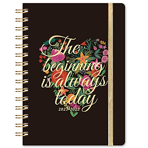 """2021-2022 Planner - Academic Planner 2021-2022 Weekly & Monthly, Jul 2021 - Jun 2022, 6.3""""x 8.4"""", 12 Monthly Tabs, Back Pocket, Elastic Closure, Hardcover, Strong Binding, Thick Paper - Black"""