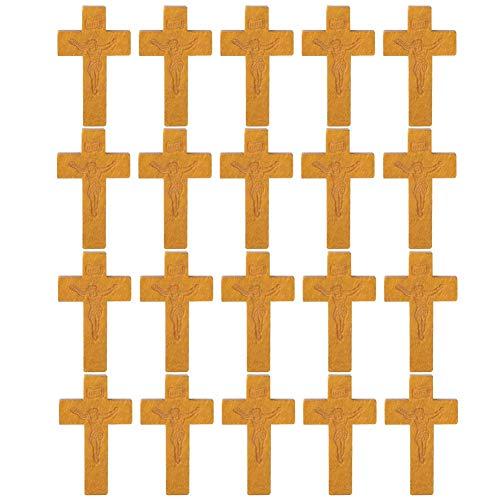 20 stks Hout Kruis Hangers Heilige Jezus Kruis Bedels DIY Sieraden Projecten voor Katholieke Christelijke Beige