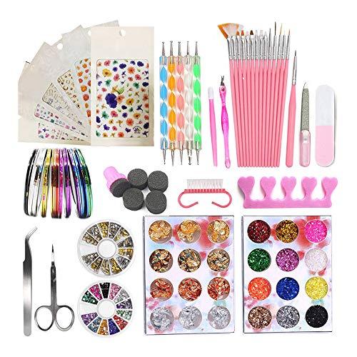 Kalolary Manicure Nail Art Set, Nagelkunst benodigdheden met nagellak Puntjesborstels Pennen, Nail Art Stickers, Kleur Steentjes Klinknagel, Nagelfolie Paillette Nagel Glitters, Nagel Striping Tapes