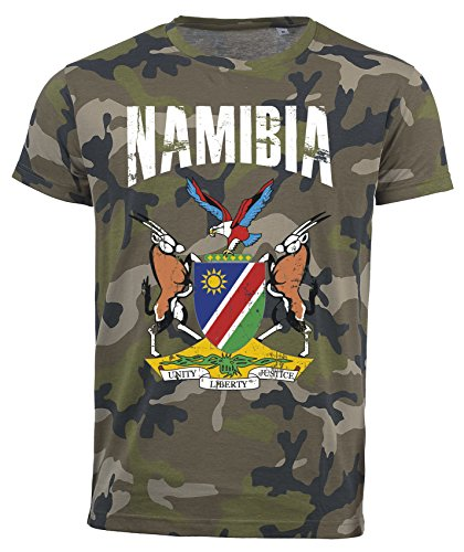 T-Shirt Namibia Camouflage Army WM 2018 .- Vintage Destroy Wappen D01 (XL)