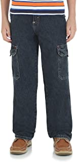 Wrangler Boys' Classic Denim Cargo Jeans/Relaxed Seat & Thigh/Straight Leg Opening/Waistband