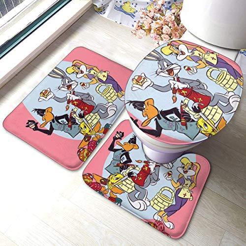LemonSisterShop Looney Tunes Bathroom Non-Slip Bath Carpet Floor Mat Rug 3 Sets -Floor Mat+U-Shaped Pad+One O-Shaped Cover Washable Mats