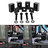 2007-2018 Wrangler JK JL Unlimited (4 Door) Aluminum Rear Seat Recline Kit with Bolts and Washers-Black