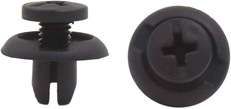 100Pcs Universal Black 8mm Hole Plastic Rivets Panel Retainer Fastener Clips