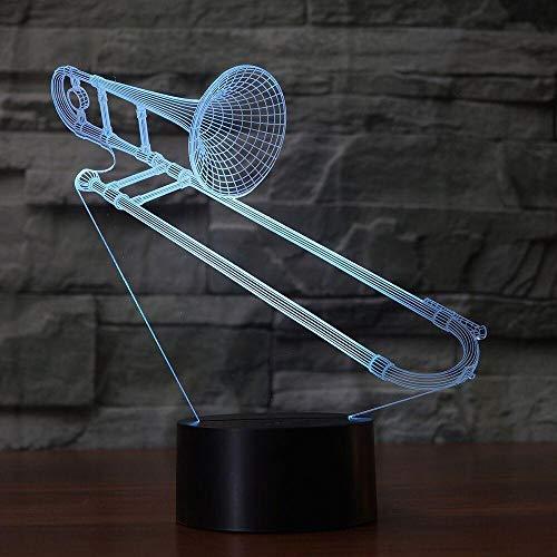 Creative Trombone Light Instrument 3D Night Light Color