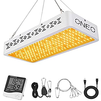 ONEO Led Grow Light 1000W Full Spectrum Sunlight 3500K White and 660nm Red Added Grow Lights for Indoor Plants Better for Full Growth Flowering Fruiting Veg Seedling with Thermometer Hygrometer