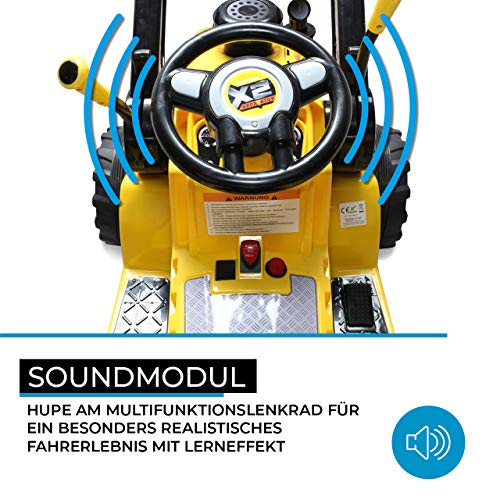 RC Kinderauto kaufen Kinderauto Bild 1: Kinder Elektrobagger mit 2 x 25 Watt Motoren Elektro Bagger Kinderauto Kinderfahrzeug Spielzeug für Kinder Kinderspielzeug (Gelb)*