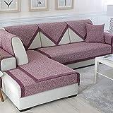YUTJK Funda de sofá de Esquina,Fundas de Asiento de sofá de Tela para Sala de Estar,Funda Protectora de Muebles,Cojines de sofá de algodón Tejido,para sofá de 1/2/3/4 plazas,Vino Rojo